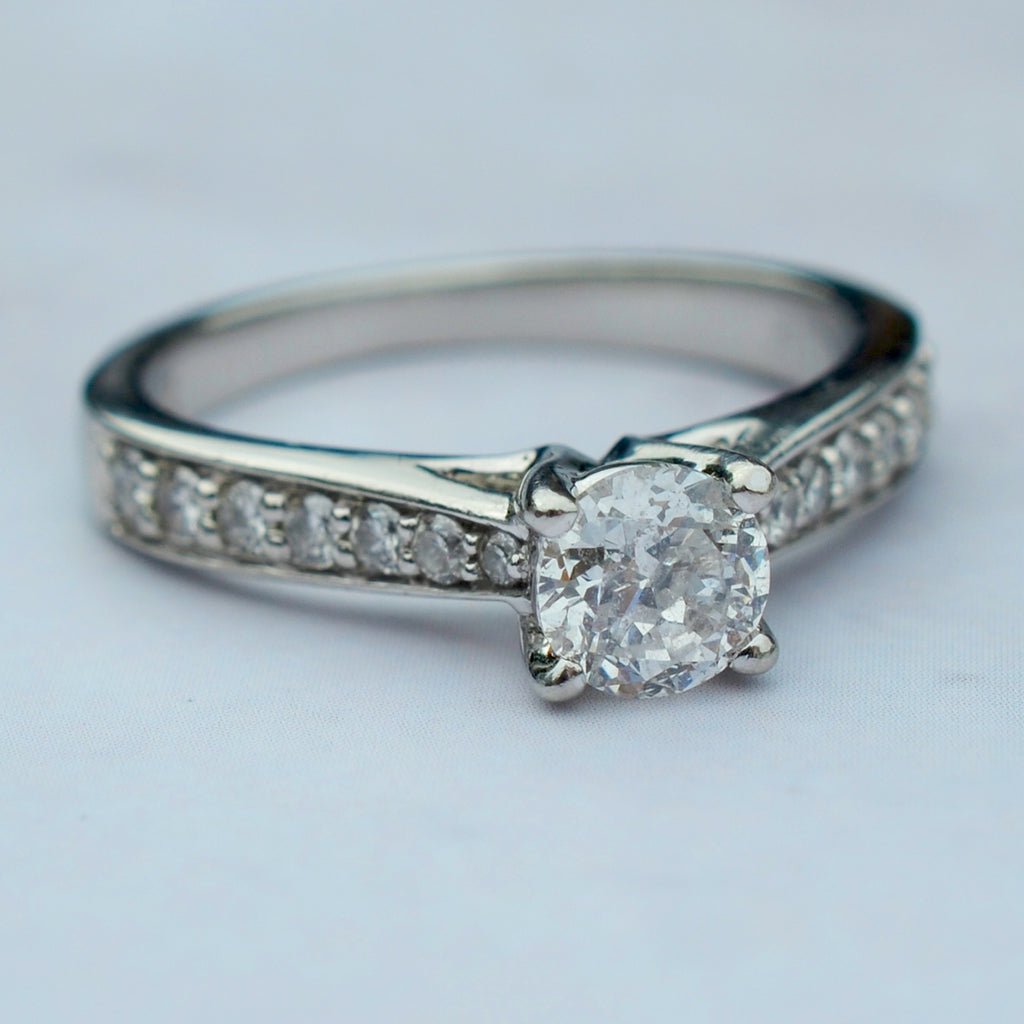 Secondhand Platinum Diamond Solitaire With Diamond Set Shoulders Ring