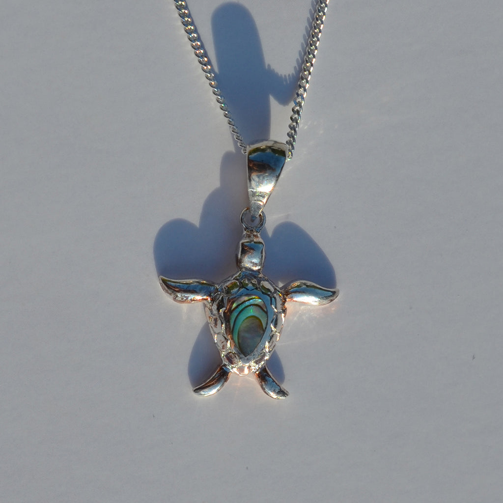 Sterling Silver & Paua Shell Turtle Pendant Necklace