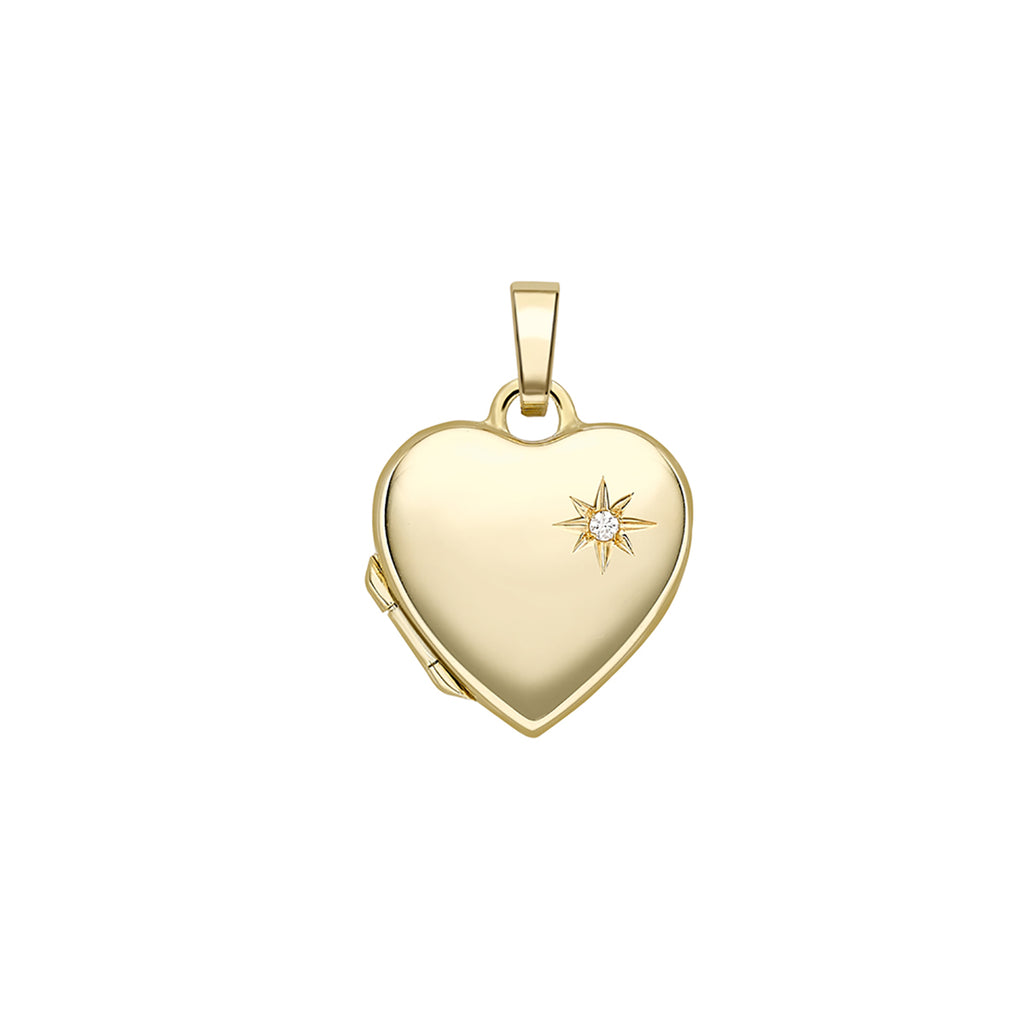 9ct Yellow Gold & Diamond Heart Locket Necklace