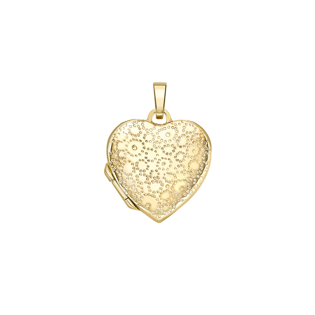9ct Yellow Gold Patterned Heart Locket Necklace