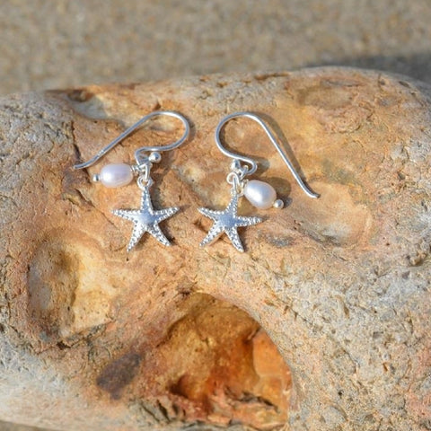 Sterling Silver Starfish Earrings With Pearl Charm