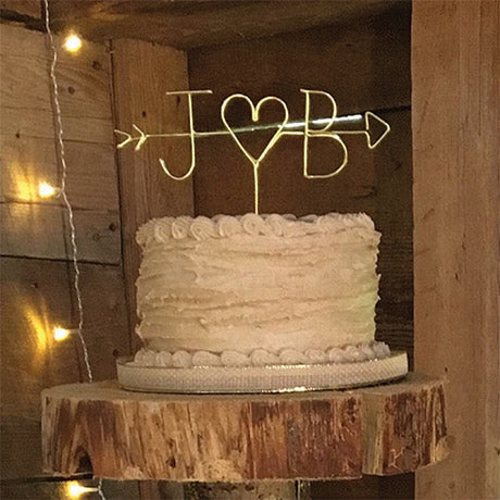 rustic wedding cake topper monogram cake topper wire cake topper