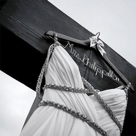 dark wood wedding hanger cherry wood bride hanger custom wedding hanger with dress