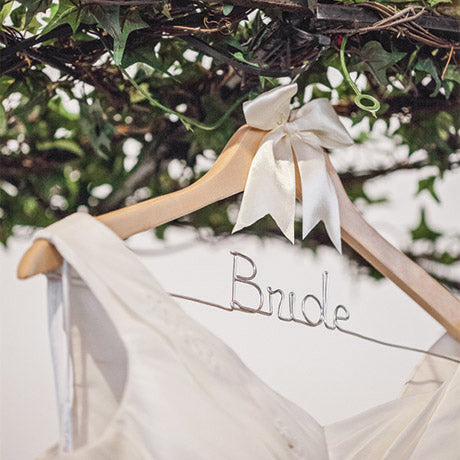 natural wood wedding hanger bride hanger with dress