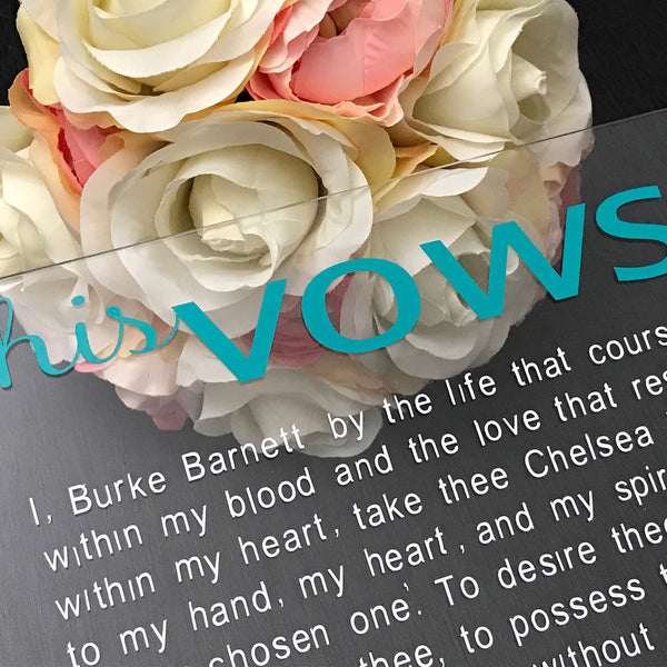 clear vow board, bride and groom promise, custom vows