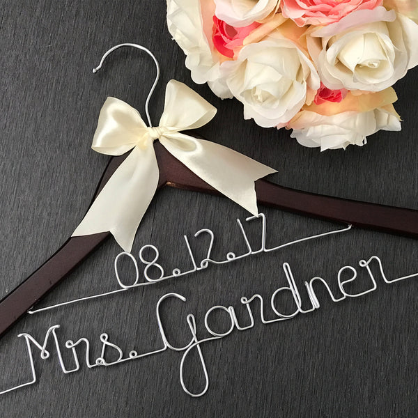 wedding dress hanger with name and date wire bride hanger custom hanger Touch of Heart