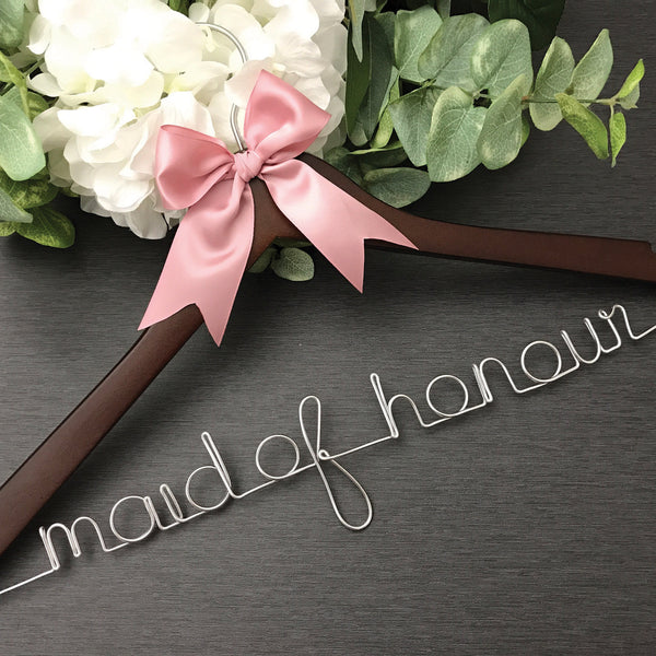dark wood hanger maid of honour hanger bridal party hanger cherry wood wedding hanger