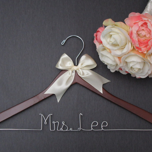 dark wood wedding hanger bride hanger mrs hanger Touch of Heart