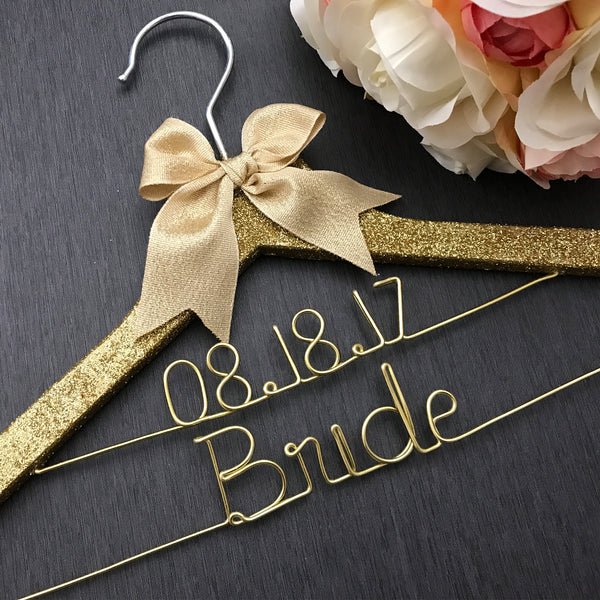 gold glitter hanger for bride bling hanger wedding dress hanger custom bridal hanger personalized wedding hanger for bride Touch of Heart