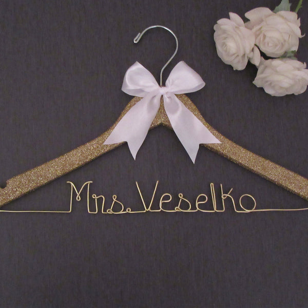 gold glitter hanger personalized hanger name wedding hanger Touch of Heart