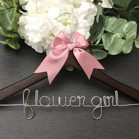 flower girl hanger dark wood hanger with wire writing wedding hanger