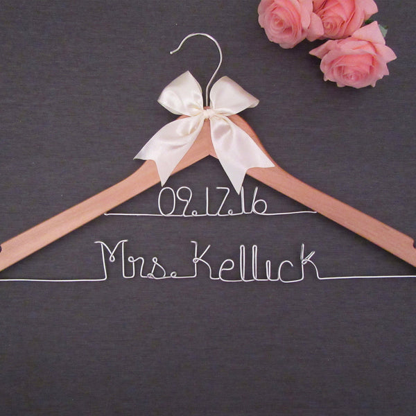 natural wood hanger with brides name and date wedding gift bridal shower gift Touch of Heart
