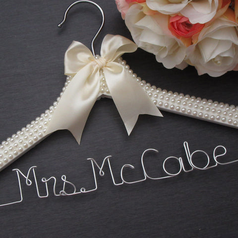 pearl wedding hanger ivory wedding hanger bride gift mrs name hanger Touch of Heart