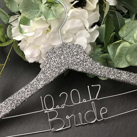 silver glitter hanger for bride sparkle wedding hanger with wire writing glamour hanger for bride