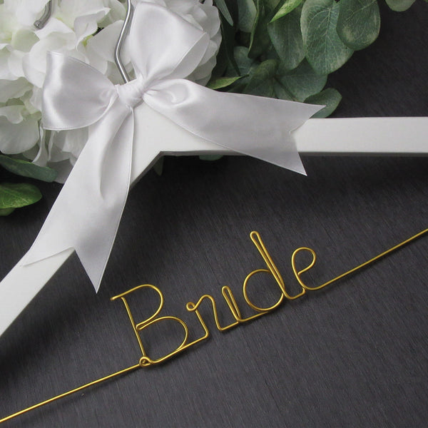 white wedding hanger white wedding hanger hanger with gold wire Touch of Heart