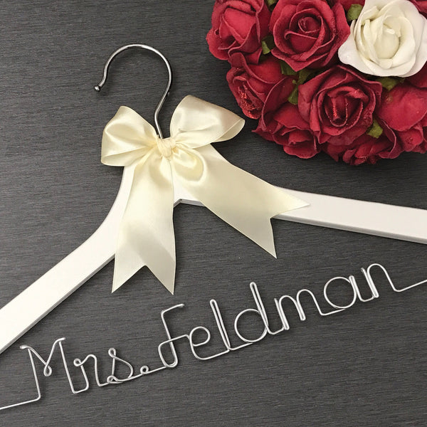 white wedding hanger with ivory bow white bridal hanger Touch of Heart