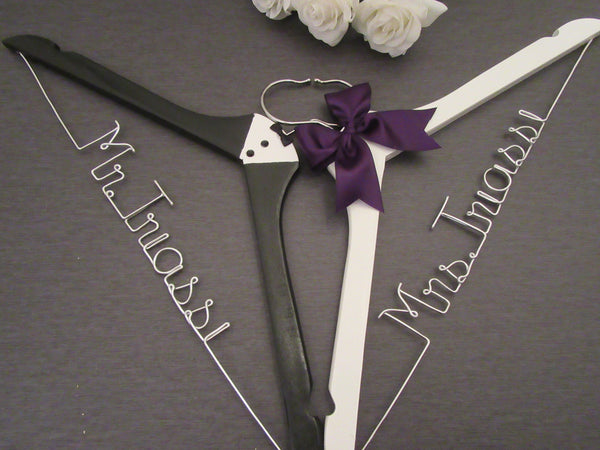 bride hanger, groom hanger, custom wedding hanger, tuxedo hanger, white hanger, name hanger, hanger sets, Touch of Heart