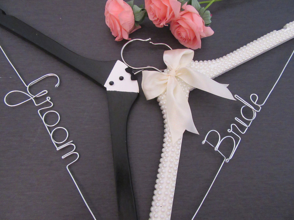 bride hanger, groom hanger, custom wedding hanger, tuxedo hanger, pearl hanger, name hanger, hanger sets, Touch of Heart