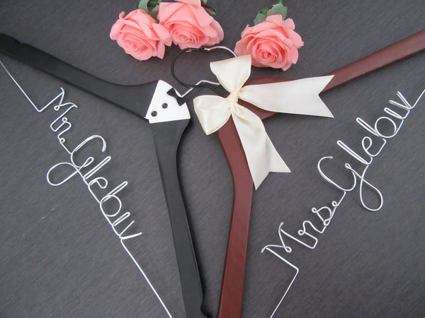 bride hanger, groom hanger, custom wedding hanger, tuxedo hanger, dark wood hanger, name hanger, hanger sets, Touch of Heart