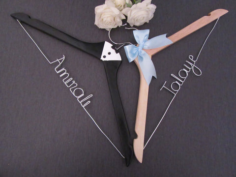 bride hanger, groom hanger, custom wedding hanger, tuxedo hanger, natural wood hanger, name hanger, hanger sets, Touch of Heart