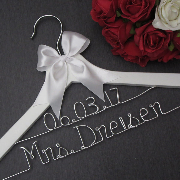 white wedding hanger with name and date white custom bridal hanger Touch of Heart