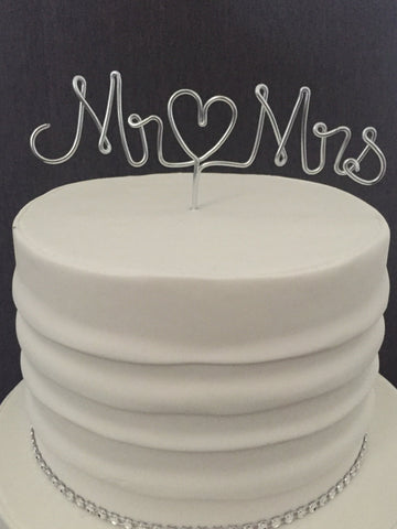 wire cake topper, mr and mrs cake topper, silver cake topper, gold cake topper, wedding cake topper