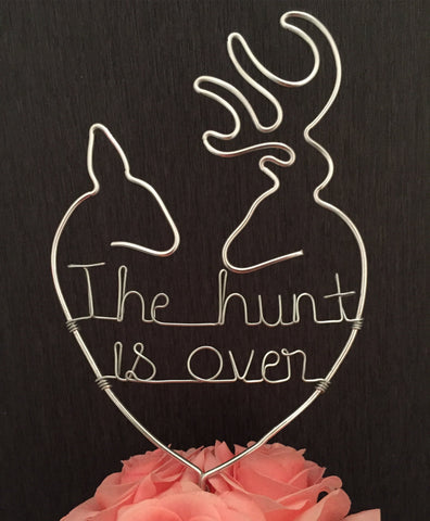 woodland cake topper, wire cake topper, wedding cake topper, the hunt is over, stag and doe cake topper, country cake topper, buck and doe cake topper, deer cake topper