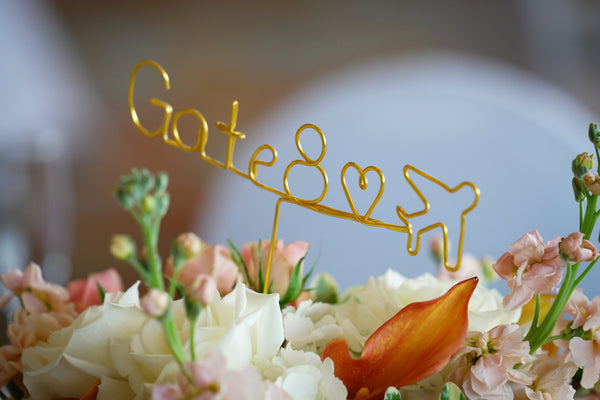 Wire Table Number, Gate Numbers, Flight Attendant Wedding, Pilot Wedding, Love is in the Air