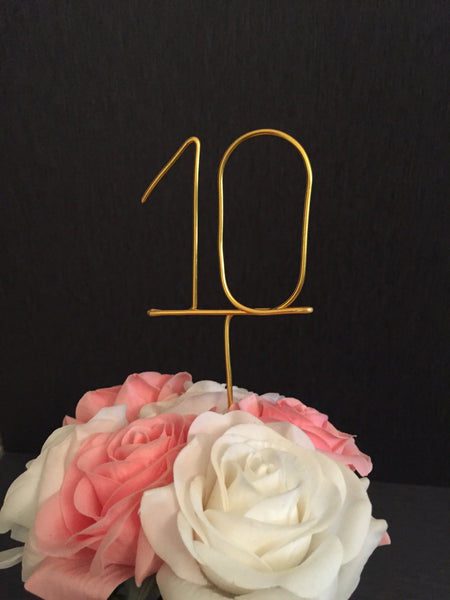 wire table numbers, numerical table numbers, unique table numbers, wedding reception decor, seating plan number