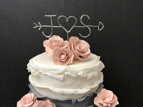 Arrow and Initials Cake Topper