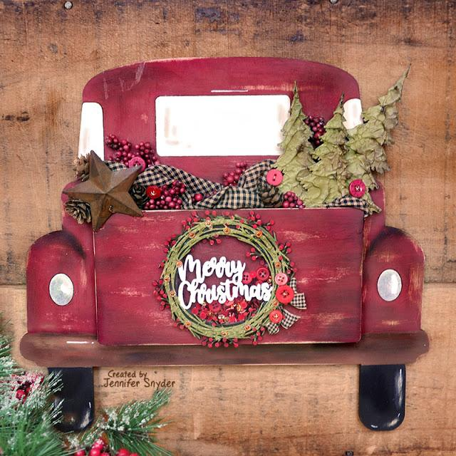 Christmas Pickup Truck with Shaker Greeting - DIY Home Decor | Buttons Galore and More