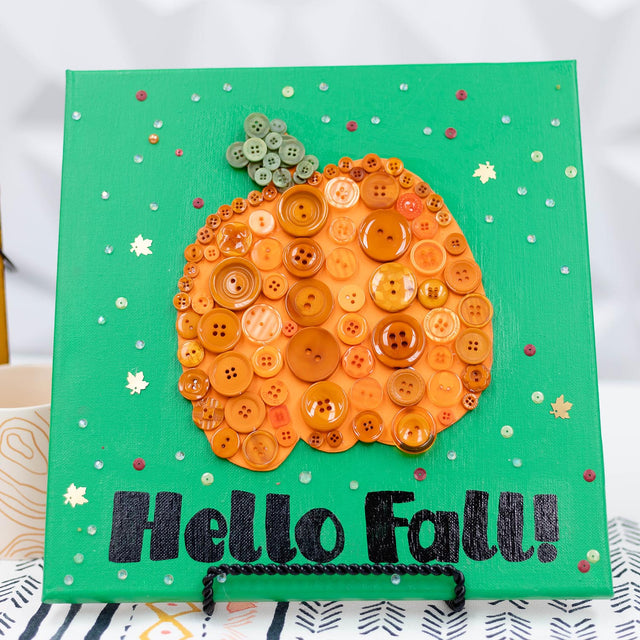 DIY Autumn Pumpkin Canvas | Buttons Galore and More