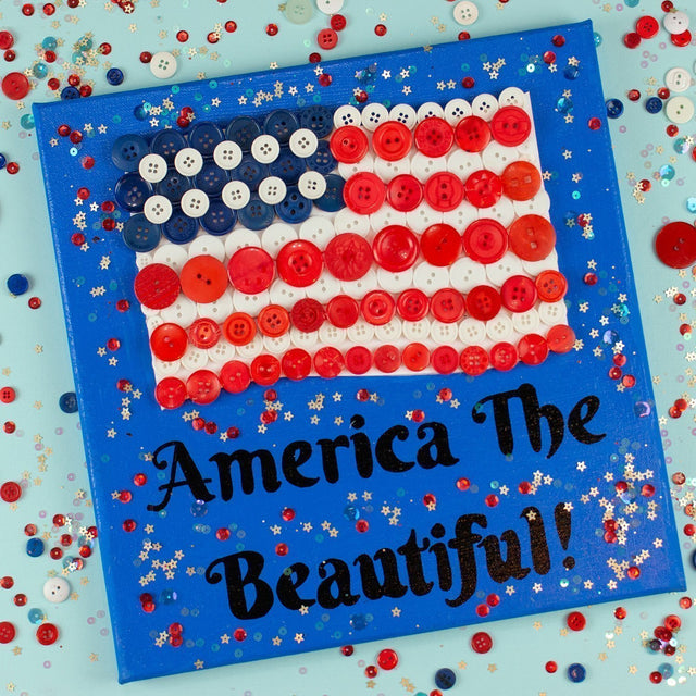 Easy DIY American Flag Canvas Wall Art | Buttons Galore and More