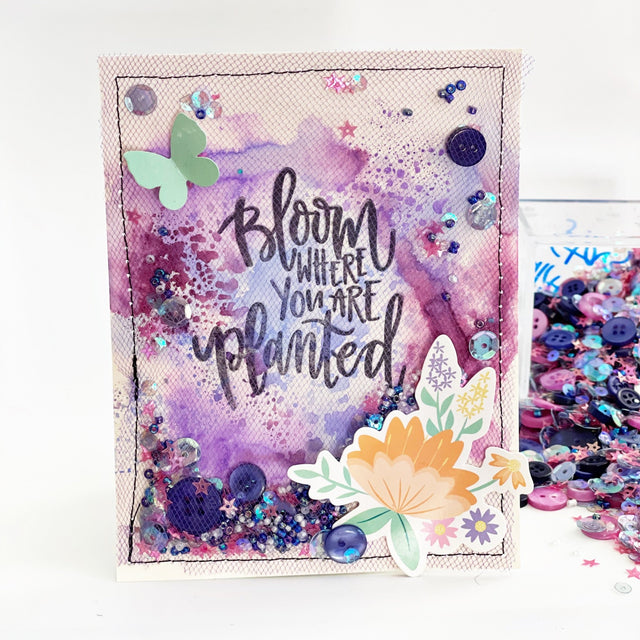May's Tip: Purple Bloom Card | Buttons Galore and More