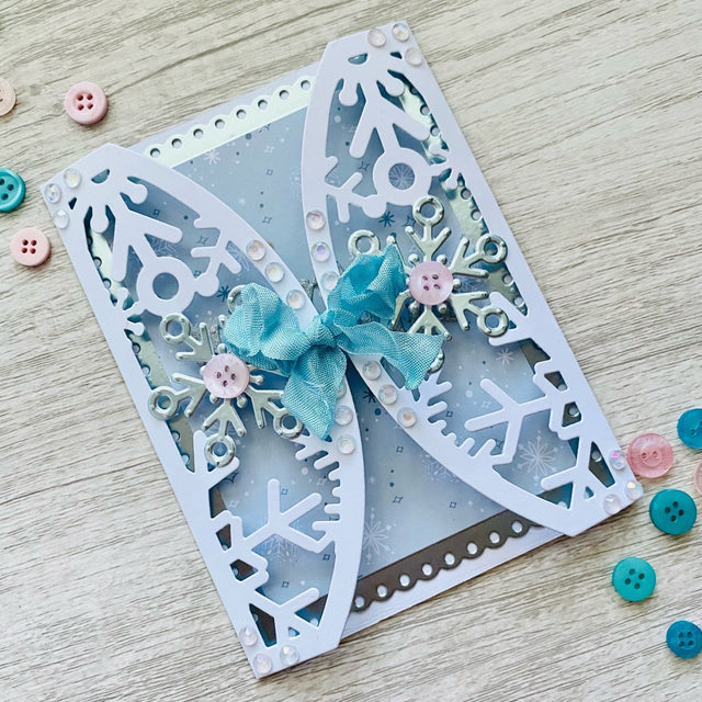 MINI Tutorial: Gatefold Snowflake Card | Buttons Galore and More