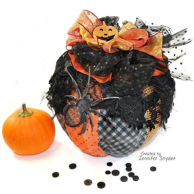 Spooky Patchwork Pumpkin Home Décor with Shaker Embellishments | Buttons Galore and More