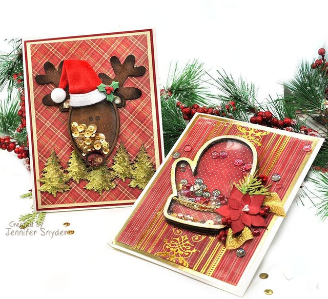 Whimsical Reindeer and Festive Mitten Shaker Cards | Buttons Galore and More