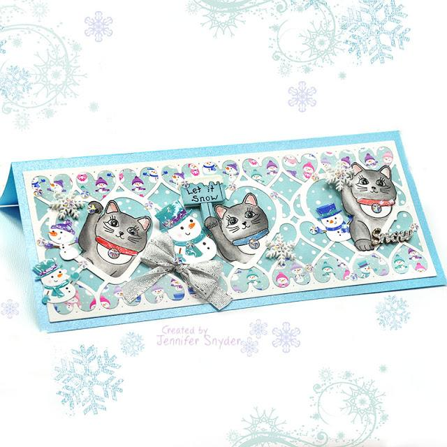 Winter Snowball Fight Kitty Cards | Buttons Galore and More