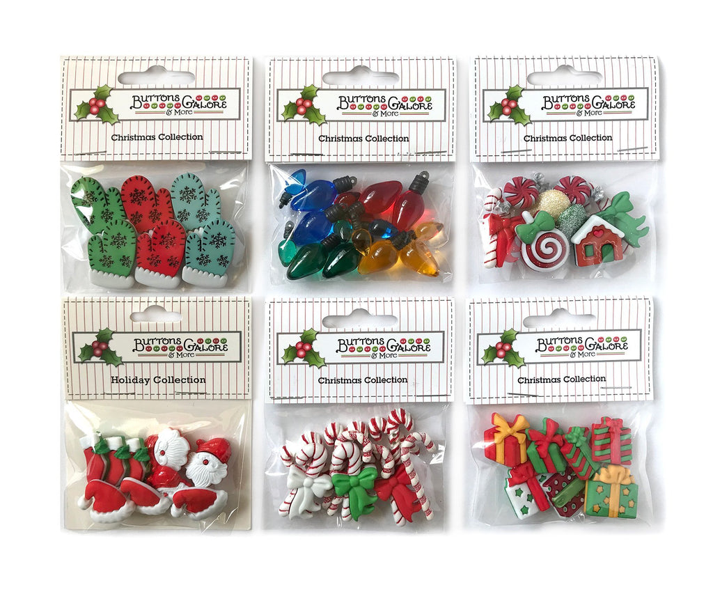 Christmas Group 2 - Set of 6 - Buttons Galore and More