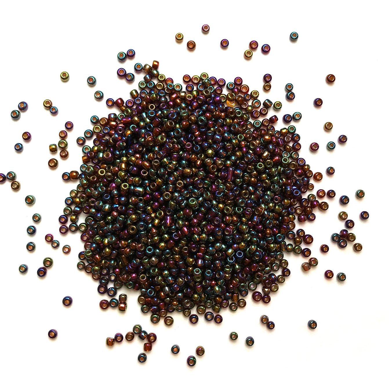 Dark Green Iridescent Seed Beads - 11/0