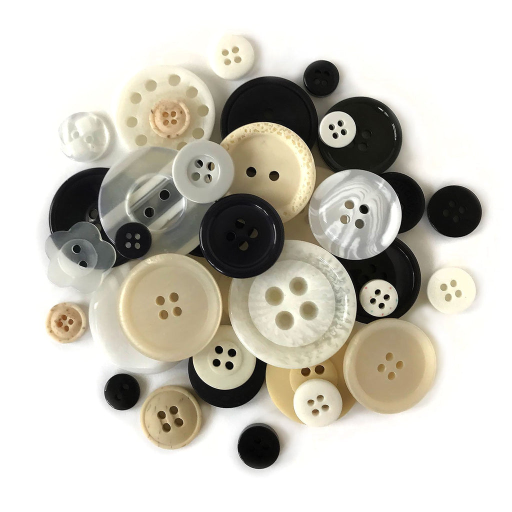 Ebony & Ivory Buttons-CJ106 - Buttons Galore and More