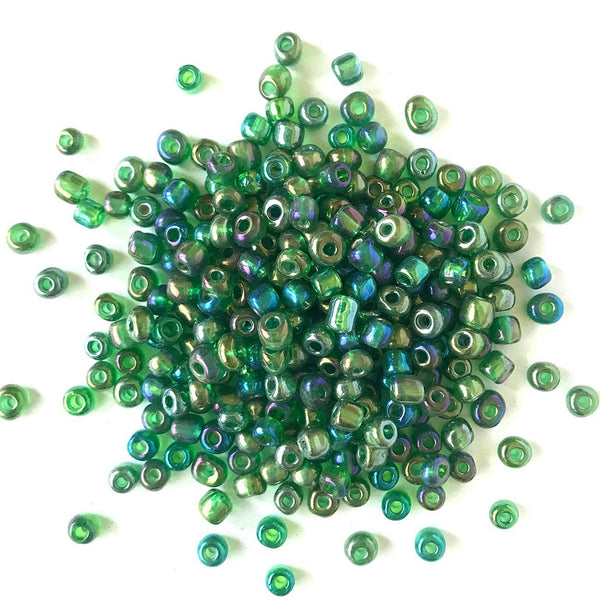 Fern Green Iridescent Seed Beads - 6/0 - Buttons Galore and More