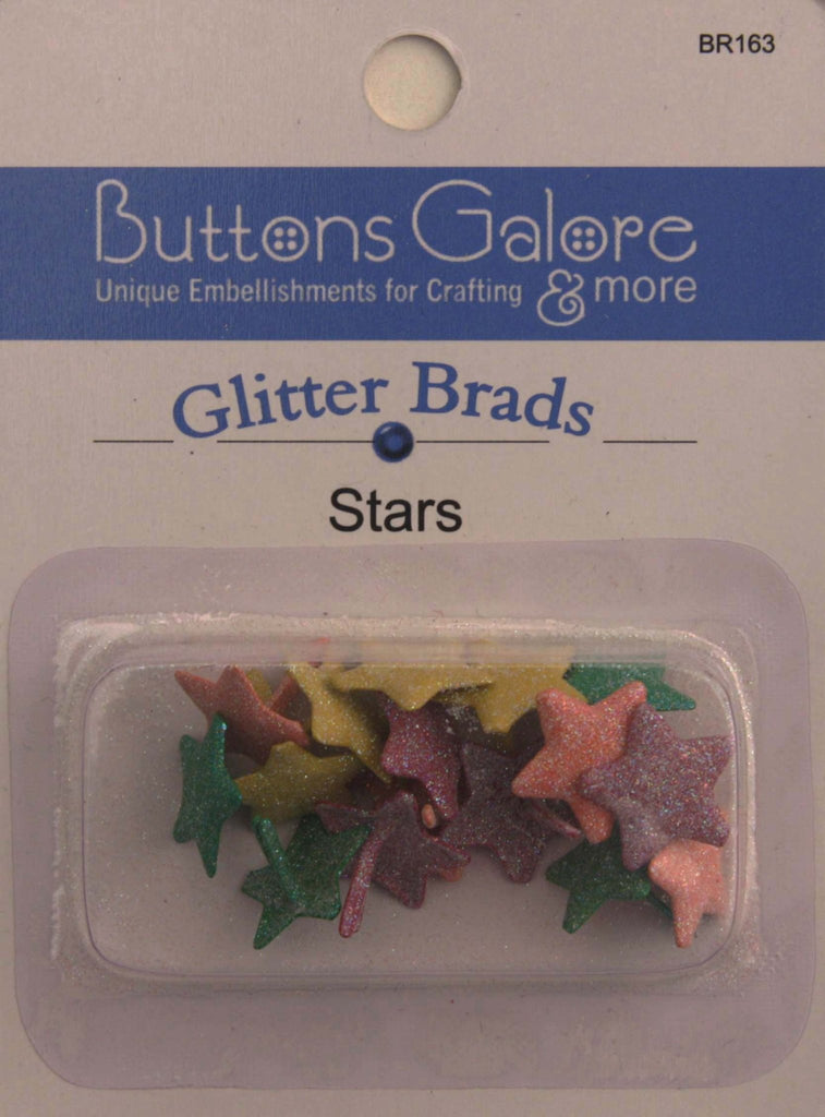 Glitter Brads Stars - BR163 - Buttons Galore and More