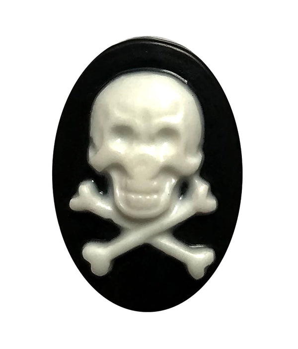 Skull & Crossbone Resin Flat Back - Buttons Galore and More