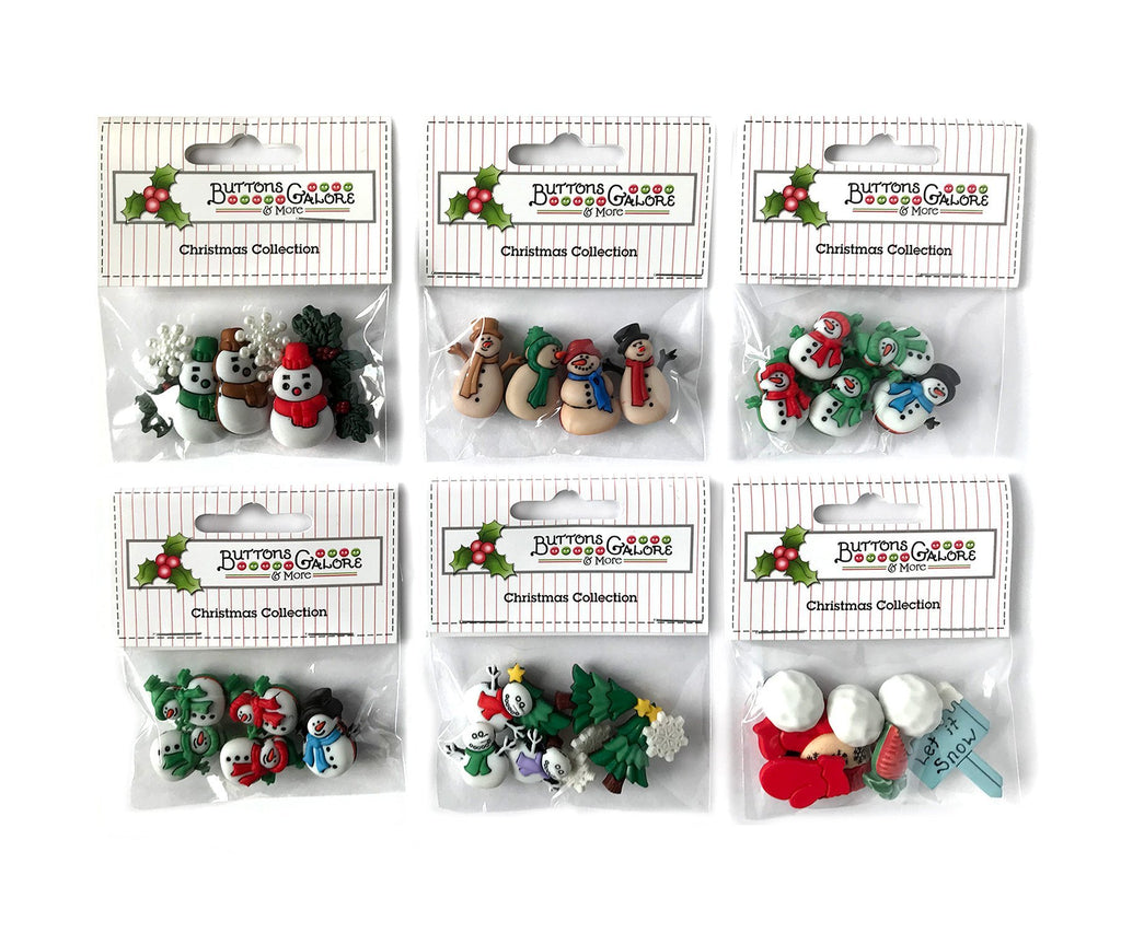 Snowman Group - Set of 6 - Buttons Galore and More