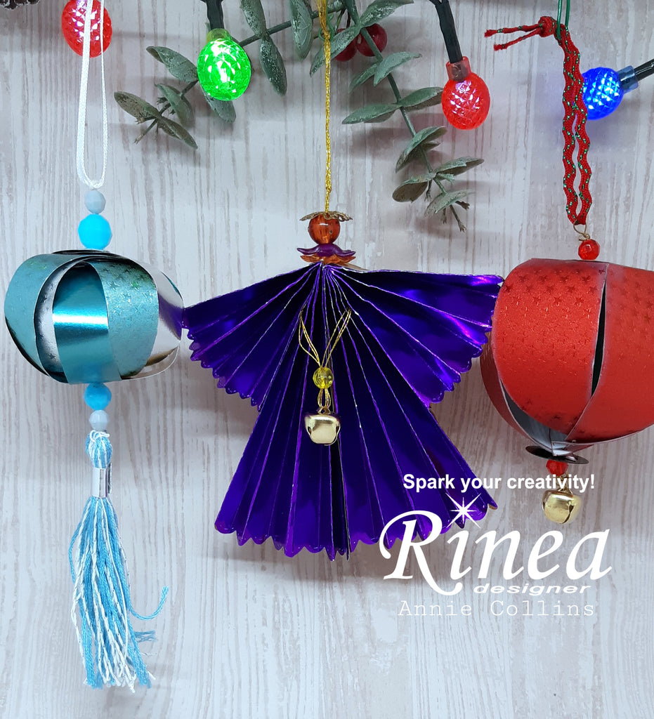 DIY Christmas Ornaments using Rinea Foiled Paper