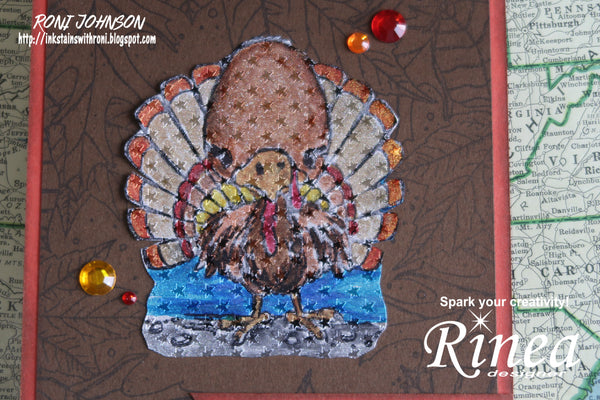 Rinea Foiled Papers Alcohol Ink Thanksgiving Card with Roni