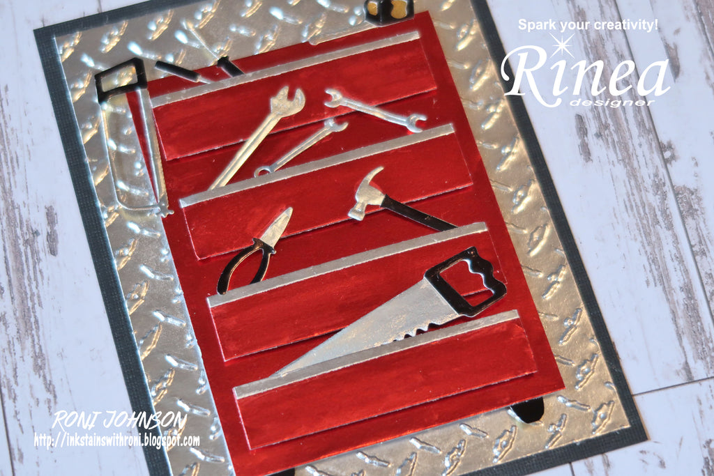 Father's Day Tool Box Card using Rinea Foiled Papers by Roni Johnson