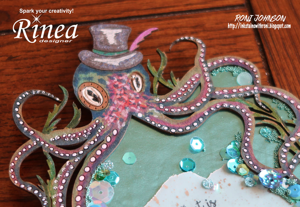Rinea Foiled Paper Steampunk Octopus Magnet by Roni Johnson
