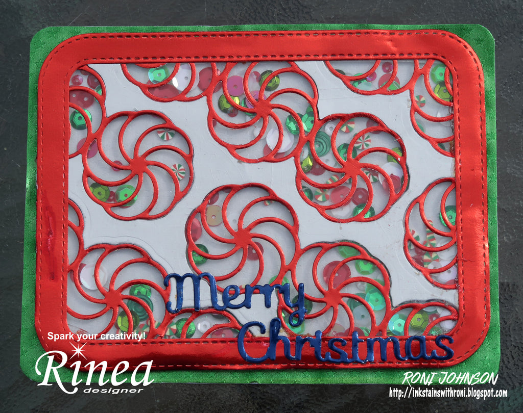 Christmas Shaker Card using Rinea Foiled Paper